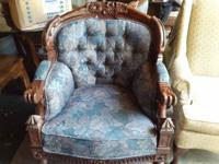 Pair of blue and deep purple floral chairs with