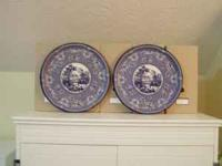 Tin Platters. Blue asian toile design and center