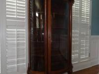 Antique oak china cabinet with lovely information,