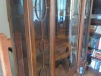 Gorgeous large antique china cabinet. Interior has