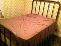 Original Antique Full Size Brass and Iron Bed with