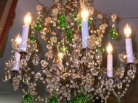Unusual Italian birdcage chandelier with beading, glass