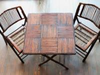 Antique Bridge Game Table Set Table Chair Bamboo Cane