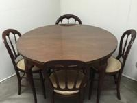Antique Bridge Table with Chairs Solid Oak with two