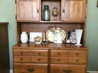 Solid wood antique buffet with display stand and