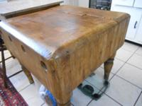 Antique original butcher block with original tools such