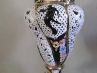 BEAUTIFUL ANTIQUE CAPODIMONTE LAMP, GILDED PIERCED