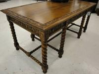 Antique Library or Entry Carved Mahogany Table in