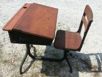 This is a beautiful cast iron childrens school desk.