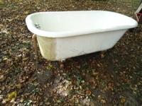 Up for sale is an antique cast iron clawfoot tub. It's