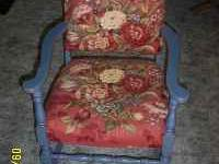 Nicely decorated and upholstered chair. $50.00. . No