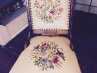 Beautiful ornate wood upholstered chair with floral