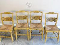 Antique Chairs Hitchcock ORIGINAL Set 4 Stenciled Rush