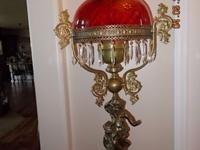 Antique Cherub Oil Lamp With Original Shade, Circa