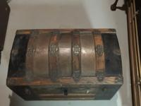 Antique chest 18 1/2 inches high. 16 1/2 inches deep.