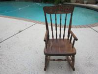 Antique Child's Rocking Chair- Oak- refinished- great