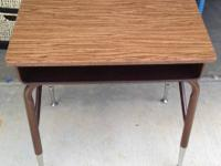 Antique Child's School Desk with brown metal bottom