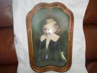 1930s children's portrait hand painted gilded frame