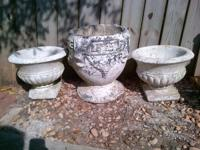 Three Antique Concrete Planters for Patio or Porch. Two