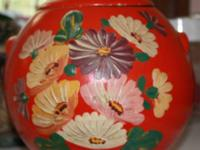 Antique Ransburg Pottery Cookie Jar. Bright coloring.