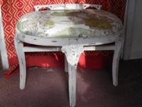 Antique Country French Bench, distressed antique white