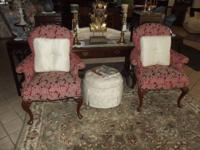 Antique Cream Large Stool that has been redone and is