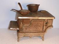 "Antique ""CROWN"" Large Cast Iron Toy Cooking Stove.  As"