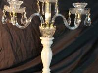 Stunning antique crystal and alabaster candelabra. This