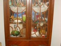 Antique Curio Cabinet glass doors 1 large drawer all