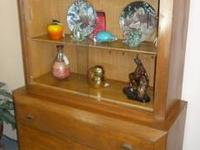 Wonderful antique curio with heavy glass front that can