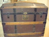 antique curved top TRUNK  dark brown leather and wood,