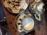 Hand painted desert set. 6 place settings. This ad was