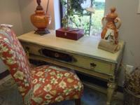 This vintage workdesk has been wonderfully hand painted