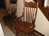 Two press back arm chairs, $225 for both. Very nice