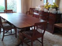 Elaborate Antique mahogany table with two leaves,