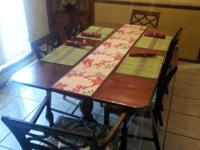 ANTIQUE MAHOGANY WOOD DINING ROOM TABLE, TRIPLE