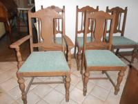 Antique Dining Table and 5 Chairs, is made of wood, but