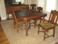 For sale, good condition antique dining table and 6