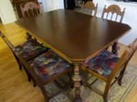 This is an antique dining table with 6 chairs in