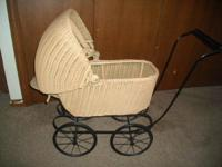 Antique Wicker Doll Carriage  Has a metal tag with