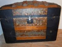Large size dome top steamer trunk ~ original wood