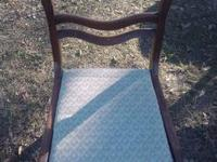 Downed stuffed wood and tapestry antique chair. Check