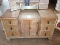 Antique Estate 1960 S Maple Vanity Dresser With Mirror