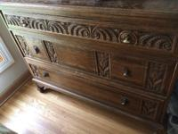 One antique dresser and one antique wardrobe. Both made