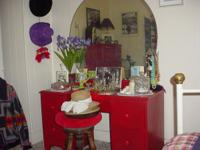 Antique Red 5 drawer dresser and matching vanity with
