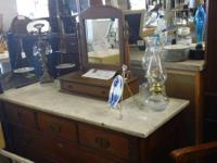 ANTIQUE DRESSER WITH ORIGINAL MARBLE TOP 1 INCH THICK.
