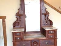 Beautiful late Victorian marble top walnut dresser with