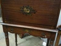 Very old wood desk with the key. Great painted flower