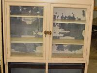 Solid wood building, antique store display cabinet with