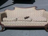 Antique Duncan Phyfe sofa. The initial tapestry